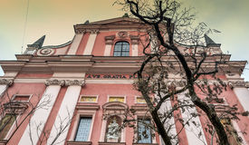 Franciscan church in Ljubljana. Beautiful view of the magnificent facade of the Franciscan church in Ljubljana, which is located in the center of the capital of Stock Photography