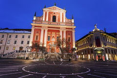 Franciscan Church and Prešeren Square Royalty Free Stock Photos