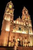 Franciscan domkyrka av campeche vid natt, campeche, Mexico Arkivbild