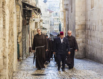 Franciscan Fathers on via Dolorosa procession. Jerusalem. Israel. Royalty Free Stock Photo