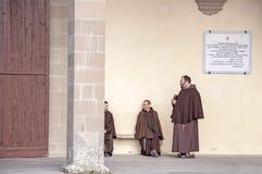 Franciscan friars. Three franciscan friars at the La Verna convent, tuscany, italy royalty free stock images