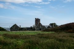 Franciscan Friary with cloudy sky at sherkin island stock photos