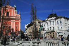 Franciscan kerk van Ljubljana Royalty-vrije Stock Fotografie