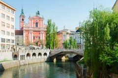 Franciscan kyrka av förklaringen och folket i den Preseren fyrkanten i Ljubljana i Slovenien royaltyfri fotografi