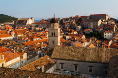 Franciscan Monastery and Museum on the background of houses with in Dubrovnik, Croatia.  Royalty Free Stock Images