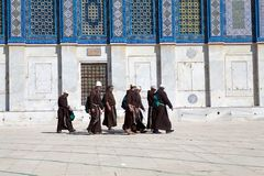 Franciscan Monk. S are visiting the Dome of the Rock at the Temple Mount, Jerusalem, Israel stock photos