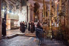 Franciscan monks in the Church of the Holy Sepulchre stock photos