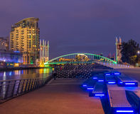 Francisco bay bridge ca nocy razem San Fotografia Royalty Free