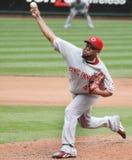 Francisco Cordero - #48 of the Cincinnati Reds. Follows through on a pitch Royalty Free Stock Photos