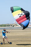 Francisco Costa on a landing kite Royalty Free Stock Photos
