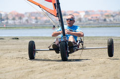 Francisco Costa on a landing kite Royalty Free Stock Photography