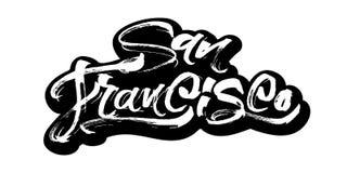 francisco san etikett Modern kalligrafihandbokstäver för serigrafitryck Royaltyfri Fotografi