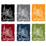 Francisco skyline sticker set Royalty Free Stock Photography