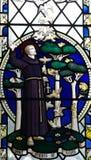 Franciscus av Assisi i målat glass royaltyfri bild