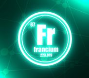 Francium chemical element. Sign with atomic number and atomic weight. Chemical element of periodic table. Molecule and communication background. Connected royalty free illustration