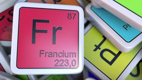 Francium Fr block on the pile of periodic table of the chemical elements blocks. 3D rendering Royalty Free Stock Image