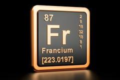 Francium Fr chemical element. 3D rendering. Francium Fr, chemical element. 3D rendering on black background vector illustration