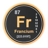 Francium Fr chemical element. 3D rendering. Isolated on white background royalty free illustration