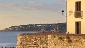 Francja Antibes, Sierpień, - 28: Wczesny poranek biegający w Antibes na Aug Zdjęcie Stock