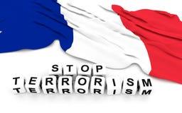 Francja flaga i pisze przerwa terroryzmu Zdjęcie Stock