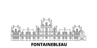 Francja, Fontainebleau punkt zwrotny linii podróży linia horyzontu set Francja, Fontainebleau punktu zwrotnego konturu miasto wek royalty ilustracja