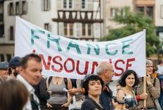 Francja insoumise plakat przy protestem przeciw Macron Zdjęcie Stock