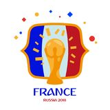 Francja jest mistrzem Zwycięzca światowy futbolowy mistrzostwo Rosja 2018 ilustracja wektor