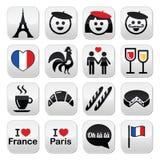Francja, kocham Paryskie ikony ustawiać Zdjęcia Stock