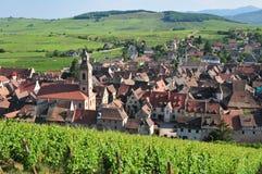 Francja, malownicza wioska Riquewihr w Alsace Zdjęcie Stock