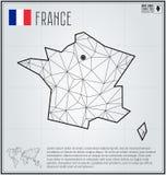 Francja mapa w geometrycznym poligonalnym stylu Poligonalny abstrakcjonistyczny świat Zdjęcia Stock