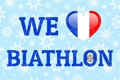 Francja miłości biathlon wektoru plakat Serce z Francuską flaga państowowa Druk dla odziewa, fancier flaga Serce, cel, celownicze ilustracji