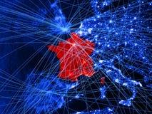 Francja na błękitnej cyfrowej mapie z sieciami Pojęcie międzynarodowa podróż, komunikacja i technologia, ilustracja 3 d elementy ilustracji