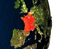 Francja od przestrzeni podczas półmroku Obrazy Royalty Free