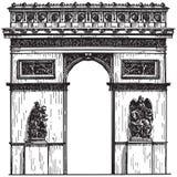Francja paris łuk De Triomphe na bielu ilustracji