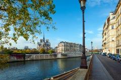Francja paris Katedra notre dame de paris pogodna jesień aft Obraz Stock