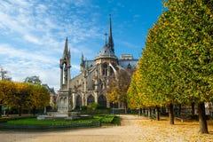 Francja paris Katedra notre dame de paris pogodna jesień aft Zdjęcia Stock