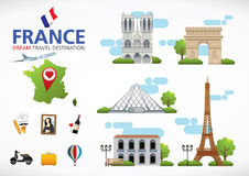 Francja podróż marzy miejsce przeznaczenia, Francja podróży symbole, symbole Francja, punkt zwrotny Obrazy Royalty Free