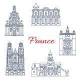 Francja podróży punktów zwrotnych budynków wektorowe ikony royalty ilustracja
