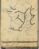Francja rocznik oryginalna mapa Zdjęcie Royalty Free