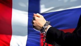 Francja sankcjonuje Rosja, konflikt, przykuwającego ręk, politycznego lub ekonomicznego, handlu zakaz fotografia royalty free