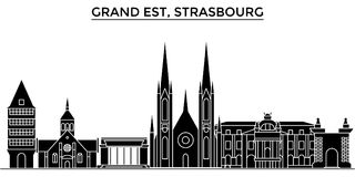 Francja, Uroczysty Est, Strasburskiej architektury miasta wektorowa linia horyzontu, podróż pejzaż miejski z punktami zwrotnymi,  ilustracji