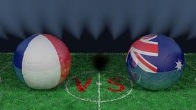 Francja versus Australia 2018 FIFA puchar świata Oryginalny 3D wizerunek Zdjęcia Stock