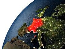 Francja w czerwieni na ziemi przy nocą Obraz Stock
