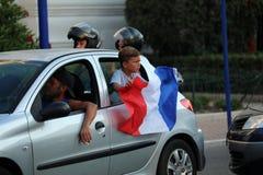 Francja zwolennicy Świętują W Menton Po Wygrywać Światowego Cu Zdjęcie Royalty Free