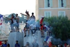 Francja zwolennicy Świętują W Menton Po Wygrywać Światowego Cu Zdjęcia Royalty Free