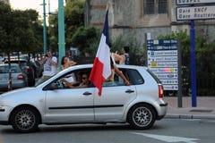 Francja zwolennicy Świętują W Menton Po Wygrywać Światowego Cu Zdjęcie Stock