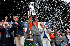 Franck Cammas with the Volvo Ocean Race trophy Royalty Free Stock Photography