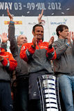 Franck Cammas with the Volvo Ocean Race trophy Royalty Free Stock Photos