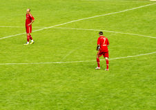 Franck Ribéry and Arjen Robben from Bayern Munich. On the field in Passau Germany ready to start the game Stock Photos