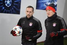Franck Ribery and Bastian Schweinsteiger of Bayern Munich Stock Photos